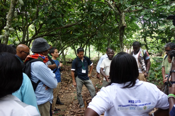 Workshop participants learn about mining and cocoa farming in the Atewa Range