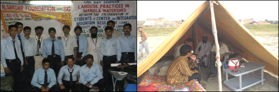 Figure 7: Participants of seminar and another view of taking interview from a contractor of a fish farm near Sohawa
