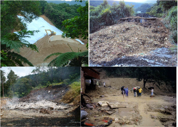 Figure 3. Improper land development (upper left), illegal dumping of waste (upper right), illegal open-air trash burning (lower left) and the serious landslide caused by super typhoon Herb in 1996 (lower right) in the upstream area of the Balian stream.
