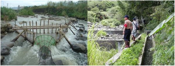 Figure 4. Overfishing along the Balian stream in the past (left). Members of Balian Stream Conservation Watch (BSCW) patrol along the stream regularly to stop illegal fishing activities.