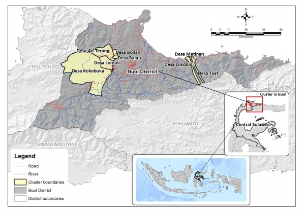 Figure 3. Location of Buol District and Smart Tree-Invest cluster sites