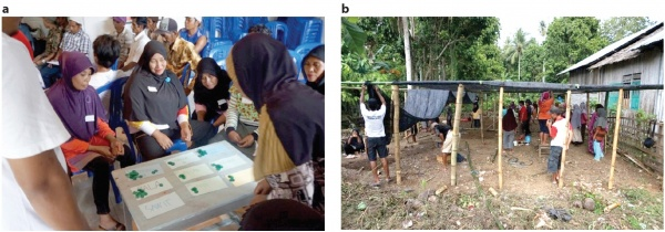 Figure 7. a) Commodity selection process, b) members of a learning group constructing their own nursery