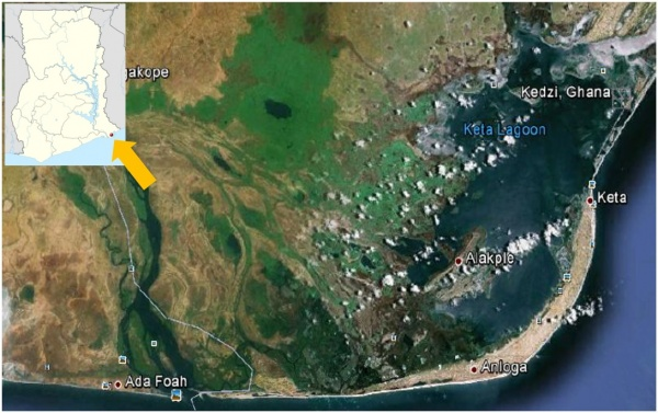 Figure 1. Image showing the spatial coverage of the Keta Lagoon. Source: Google image, 2017