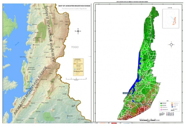 Topographical and satellite Map of the Project Area (Weto Mountain Range)