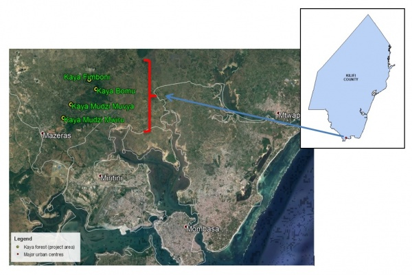 Figure 2. Land use and land cover map of case study site. Location of Kaya forests in Kilifi County, Kenyan Coast (Source: GIS and Remote Sensing Department, KEFRI)