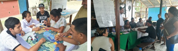 Figure 4. Group discussion in the Resilience Indicators Workshop. Participants in the Portoviejo River Estuary. ©FIDES