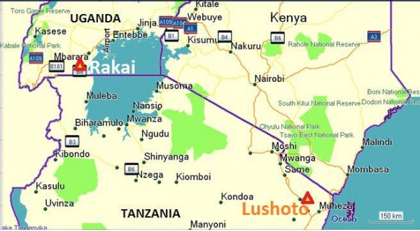 Figure 5. Location of Rakai (Uganda) and Lushoto (Tanzania)