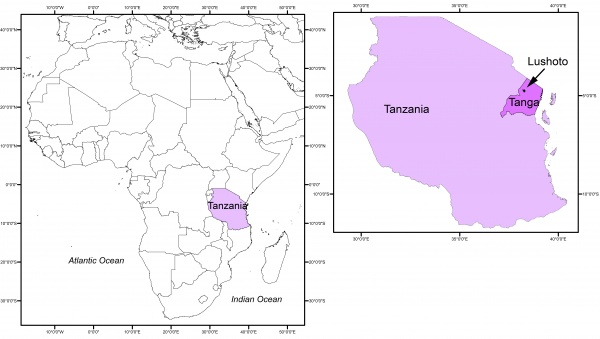 Figure 2. Map of the country and case study region - Tanzania
