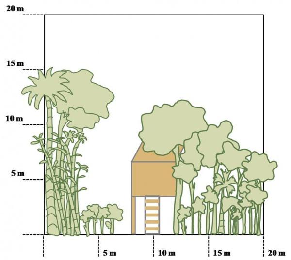 Figure 2 – Top and side views of dwellings in Wat Chas village (Credit: UNU-IAS)