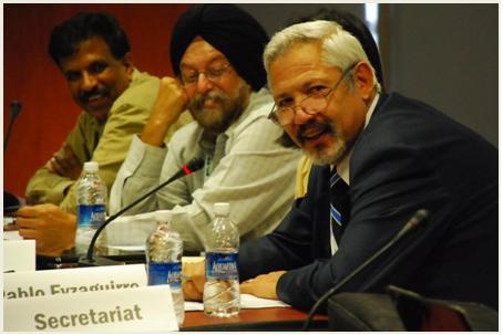 From left to right, Anil Kumar, Prabhjot Sodhi, Pablo Eyzaguirre