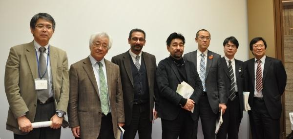 Symposium speakers (from left to right): Prof. Tohru Nakashizuka, Prof. Koji Nakamura, Prof. Anantha Duraiappah, Mr. Shinjiro Imura, Mr. Yoshinari Ohtsumi, Mr. Taisuke Watanabe and Mr. Kazu Takemoto. (Photo: Kozue Suto)