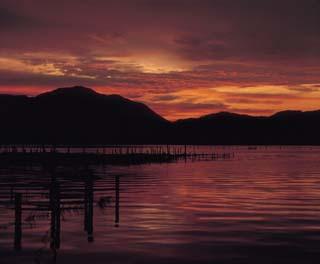 三方五湖 夕日