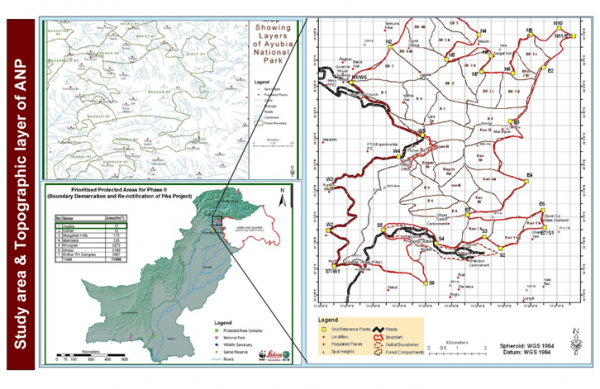 Map of study area, Location of Ayubia National Park, KPK