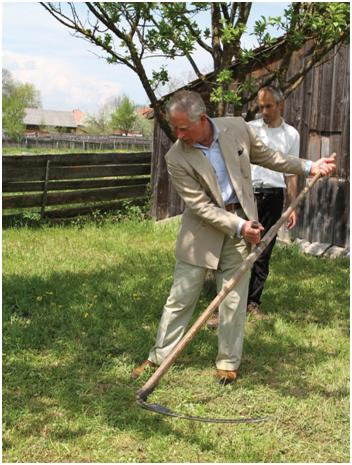 Prince Charles learning how to mow in our garden