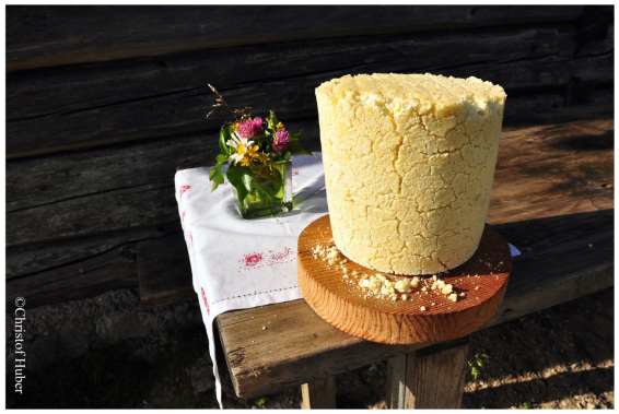 Figure 12: One of the most famous local products: the Steirerkas (Styrian grey cheese) has a – Japanese tourists: pay attention! – very strong taste! As the demand is higher than the supply, the cheese is only sold to visitors to the cabins and not available in the valleys' stores or local markets.