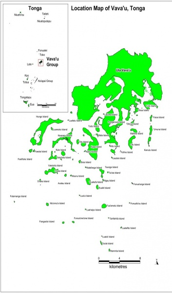 Figure 3 : Location map of Vava'u Tonga
