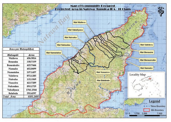 Map of community declared protected areas in Natewa Tunaloa Peninsula, COMDEKS Fiji