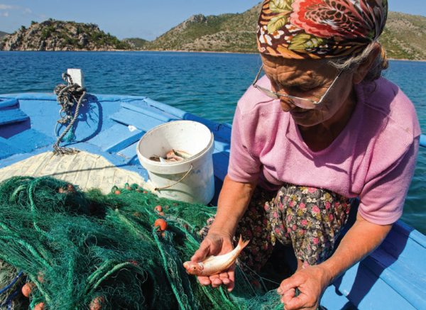 Local fisherwoman in Datça-Bozburun Peninsula, COMDEKS Turkey