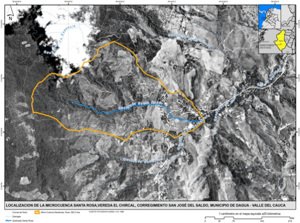 Figure 1. Location of the Santa Rosa Watershed (SRW) basin, shown in blue