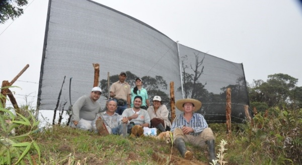 Figure 5. Mist-catcher net installed in the reserve Canaan and the Cofopal team with Mr. Humberto Dominguez (right)