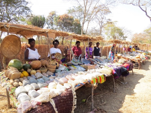 Farmers display their produce at the Natural Agriculture Fair