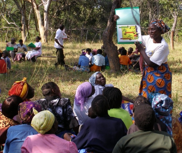 Trainers leading workshops on farming techniques