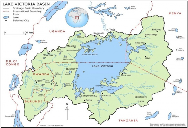 Figure 1. Map of Lake Victoria basin (Source: https://practicalconservationmanagementwikispaces.com/lake+victoria+basin, accessed September 2017)