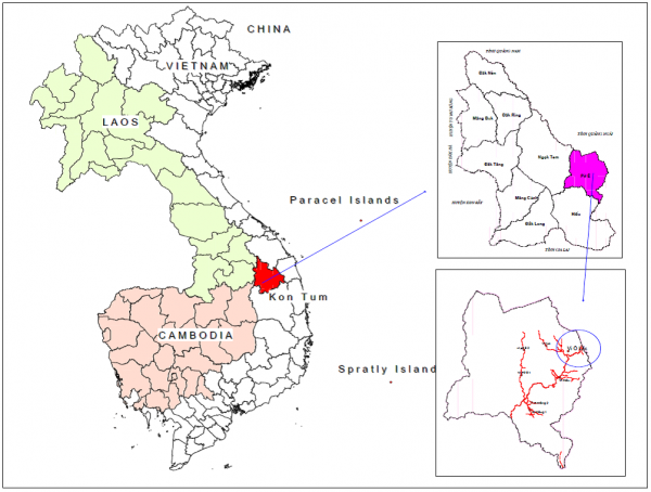 Figure 1. Map on the lower right shows the location of the site in Po E commune, Kon Plong district, Kon Tum province (Source: LISO 2016)