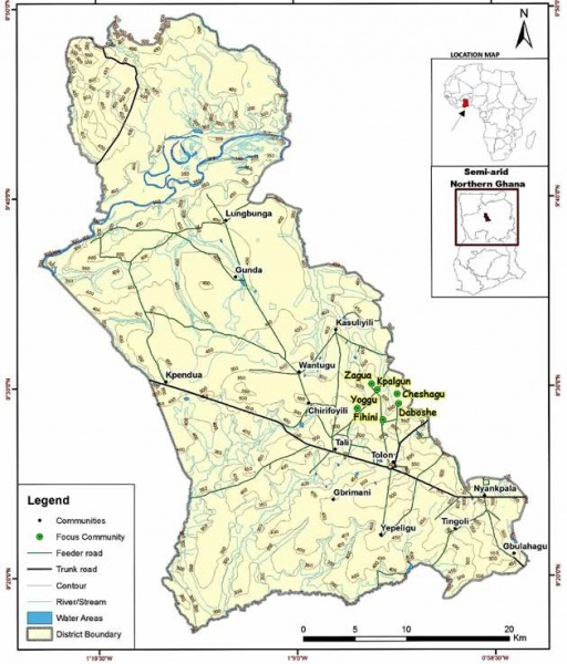Figure 1: Map of Tolon district showing the survey villages in relation to semi-arid Ghana. Source: George Senyo & Yaw A. Boafo