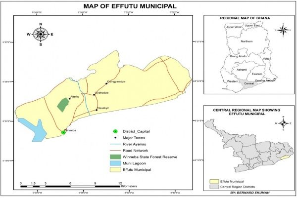 F igure 1: Map showing the location of the Effutu traditional area. Source: Wildlife Division, Winneba