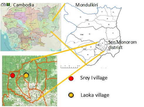 Figure 3. Location of the studied villages (Sources: Statistic Bureau 2009 and Cambodia Open Development 2014)
