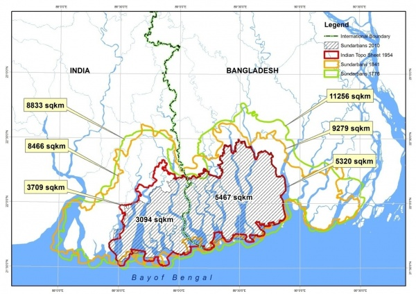 Figure 3. Mangrove forest change of the Sundarbans from 1776 to 2010 (Joint Landscape Narrative by India and Bangladesh), (Source: CEGIS, 2016)