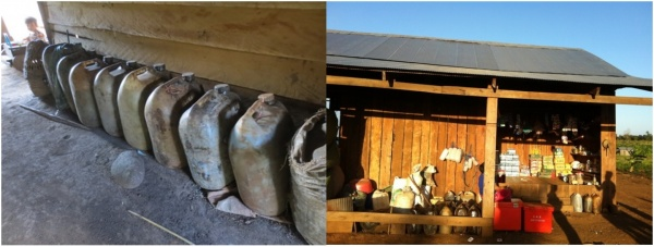 Figure 5. Left: Stockpile of liquid resin; Right: Middleman shop for buying resin (Photo: Institute of Environmental Rehabilitation and Conservation)