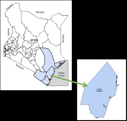 Figure 1. Map of the country and case study region. Map of Kenya showing the location of Kilifi County, Kenyan Coast (Source: GIS and Remote Sensing Department, KEFRI)