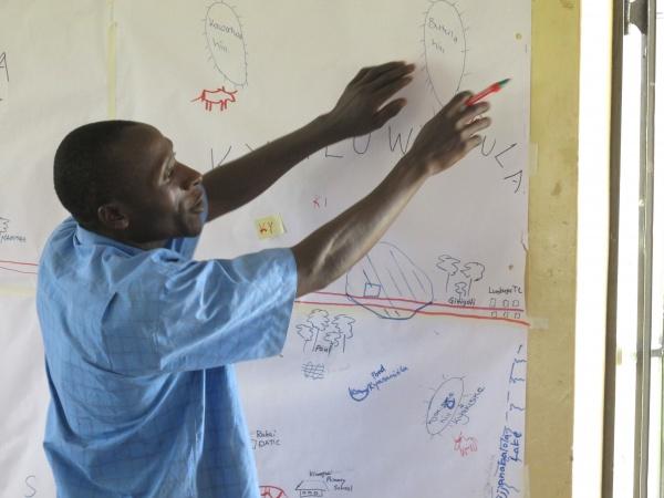 Figure 6. Participatory landscape mapping exercise in Rakai, Uganda.